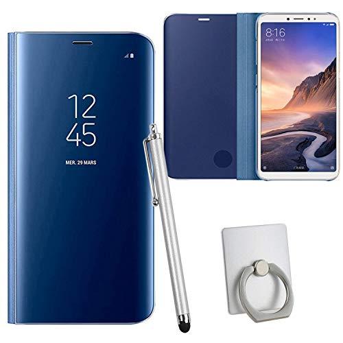 Guran® Mirror Efecto Espejo Funda para Xiaomi Mi MAX 3 Clear View Función de Soporte Plegable Smartphone Funda Protectora (Azul Oscuro)