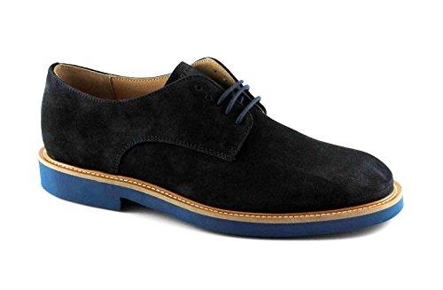 FRAU 35C1 blu scarpe uomo eleganti casual lacci camoscio Blu