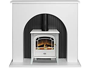 Adam Kirkham Stove Suite in Pure White with Courchevel Electric Stove in White, 48 Inch