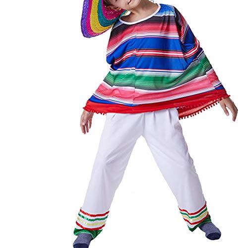 Amosfun Mexikanisches Kostüm Poncho und Hose Mexiko Kostüm für Kinder Mexikaner Verkleidung Jungen Mädchen Karneval Fasching Kostüm 1 Satz - L