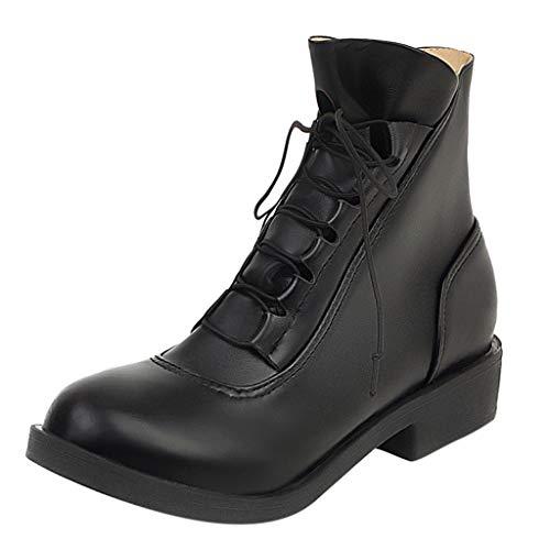 QinMM Schnalle lädt vorderen Reißverschluss, Frauen-Knöchel-Aufladungs-quadratische Fersen-Schuh-Spitze-Oben Plattform-beiläufige Kurze Art- und Weiseaufladung auf -