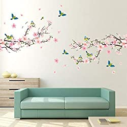 Alicemall Pink Blossom Flower Tree Birds Wall Stickers Waterproof Wall Paper for TV Background Decor Mural Art Decal Home Decor