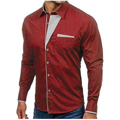 TIFIY Oktoberfest Herren Herbst beiläufige Formale Slim Fit Solid Langarm Bluse Business Shirt...
