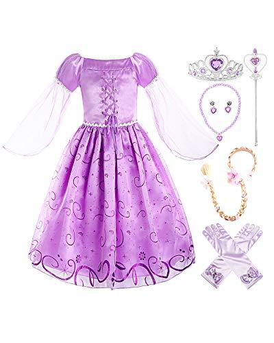 ReliBeauty Mädchen Prinzessin Rapunzel Kleid, Lila(mit Zubehör), 122-128(Etikett ()