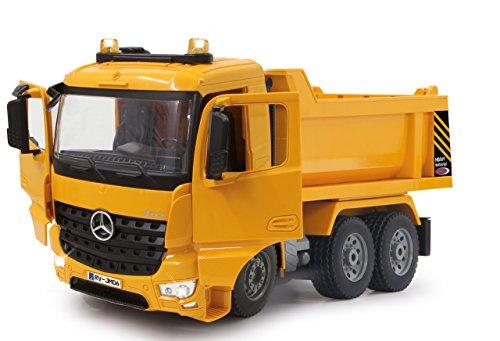 Jamara 404940 - Muldenkipper Mercedes-Benz Arocs 2,4 GHz - Kippmulde hoch / runter, realistischer Motorsound, Hupe, Rückfahrwarnsound, 4 Radantrieb, gelbe LED Signallichter, programmierbare Funktionen - 6