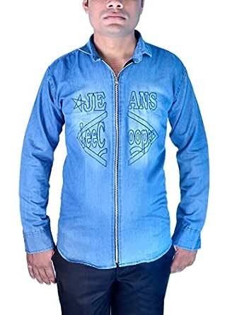 Sunshiny Men's Denim Slim Fit Casual/Formal Shirt (Blue, 34)