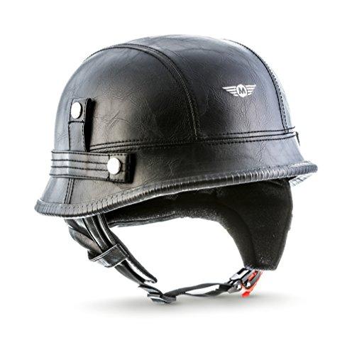 "Moto Helmets D33 ""Leather Black"" (Schwarz)  · Jet-Helm Braincap Bobber Halbschalen  · Retro Scooter-Helm Motorrad-Helm Chopper Roller Mofa  · Click-n-SecureTM Clip  · Tragetasche  · L (59-60cm)"
