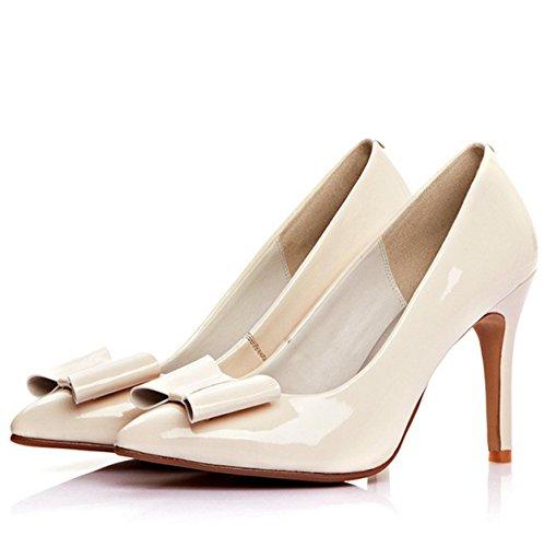 WSS chaussures à talon haut Arc de stiletto haut talon Ladies fait cuir pâle Joker chaussures chaussures femme meters white