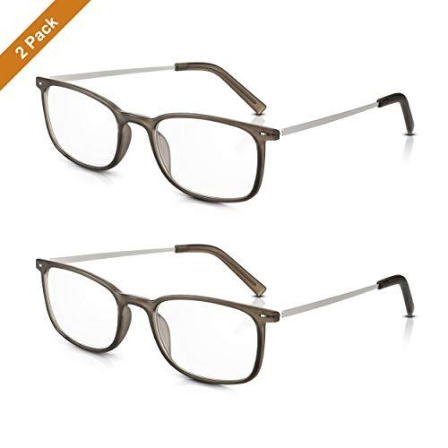 2 Paare Read Optics Herren/Damen Classy Vintage Lesebrille: Retro Style +2.5 Optische Qualität Clear Lens. Leichte, haltbare graue Polycarbonat-Kunststoffrahmen und stilvolle Metallarme