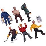FLAMEER 6pcs 1:40 Maßstab Gemalte Arbeiter Menschen Miniatur Figuren Modellbahn