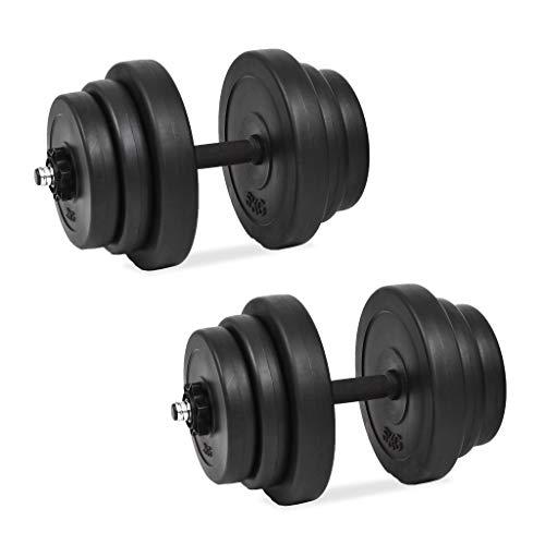 Vidaxl set manubri 18 pz 40 kg bilanciere barre acciaio piastre dischi di peso