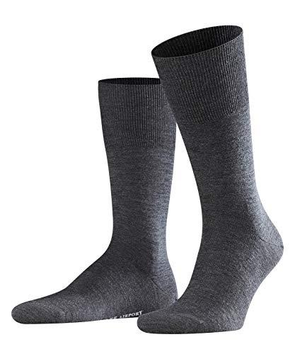 Preisvergleich Produktbild FALKE Herren Airport Woll- / Baumwoll Strümpfe Einfarbig Business Socken,  Blickdicht,  asphalt mel,  39-40