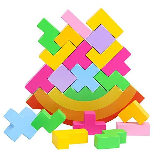 Wongfon Kinder Holzspielzeug Halten Balance Bunte Blöcke Kognitive Bausteine   Kreis Set Lernspielzeug
