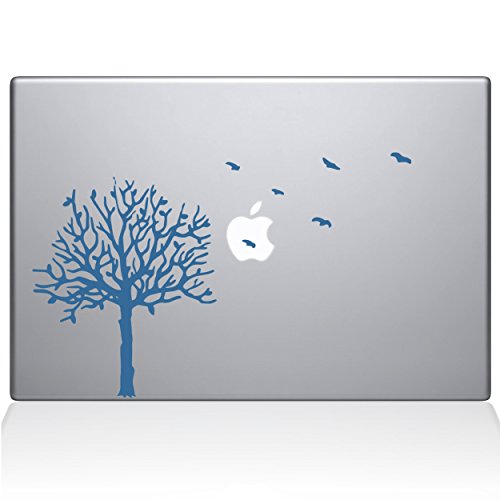 The Decal Guru 2094-MAC-13P-LB Aufkleber, Baum mit Vögeln, Vinyl-Aufkleber, Hellblau, 33 cm (13 Zoll) MacBook Pro (2015 und älter) - Baum Mac Decal