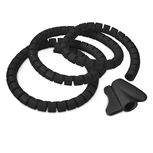 Relaxdays Kabelschlauch 1,5m Kabelkanal kürzbar, aus Kunststoff flexible Kabelorganisation, schwarz