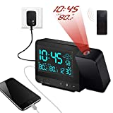 Dr. Prepare Digital Multifunctional Projection Alarm Clock with Indoor/Outdoor Thermometer Hygrometer, Weather Station