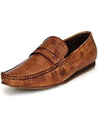 El Paso Men's Tan Handpainted Genuine Leather Casual Loafers 42UK