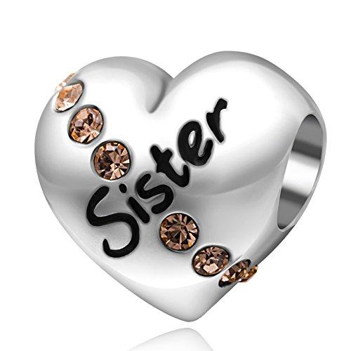 Charm in argento sterling 925, a forma di cuore, con cristalli, con scritta in lingua inglese