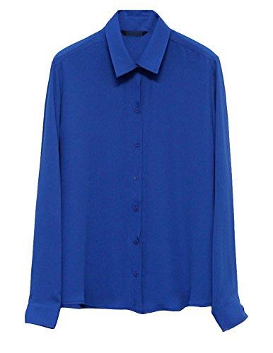 Brinny femme Chemise en mousseline de soie à manches longues femmes tops lâche mince chemisier Bleu Foncé