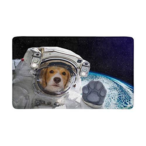LVOE TTL Lustiger Hündchen-Astronaut in der Weltraum-Fußmatte rutschfeste Fußmatte für den Innen- und Außenbereich Wohnkultur, Eingangsgummiteppich 23,6 x 15,8 Zoll