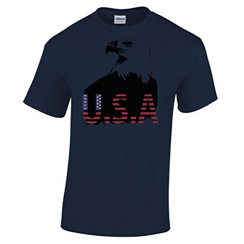 USA Bald Eagle Amerika US Geschenk Printed Design Sternenbanner Herren T-Shirt (Patriot-eagle-t-shirt)