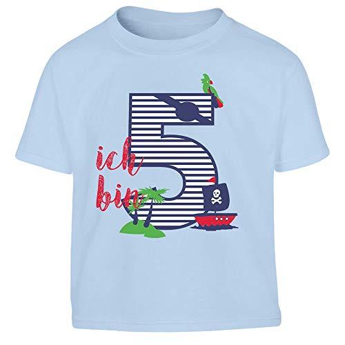 Shirtgeil Ich bin Fünf Geschenk Geburtstag Kleinkind Kinder Jungen T-Shirt 106/116 (5-6J) Hellblau -