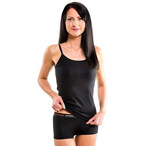 HERMKO 1560 3er Pack Damen Träger Top aus 100% Baumwolle, Farbe:schwarz, Größe:44/46 (L)