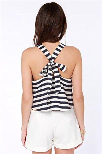 Criss Cross Tank Wie Streifen Tee Spitzenbluse Tops Shirts T-Shirts schwarz weißen Streifen