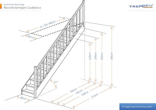 Intercon space-saving staircase Casablanca solid wood with wooden balustrade beech / pine