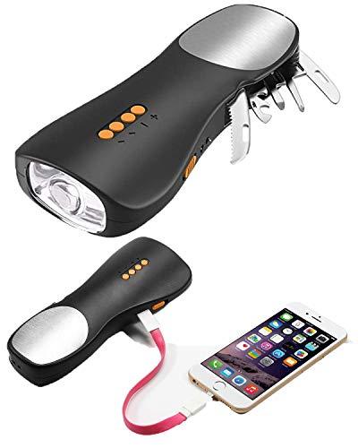 BRAVEFEBER Multi-Tool LED-Taschenlampe Haushalts-Werkzeug-Set All in One Tool Licht Notfall-Handkurbel FM Radio Schweizer Messer Werkzeug Set