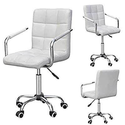 Tinxs® Swivel Leather Gas Lift Barstools Executive Office Computer Chair with Wheels (wheels bar stools, White) - cheap UK light store.