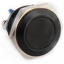 SODIAL (R) interruptor de boton Negro 16mm 12V para Cuerno del coche auto