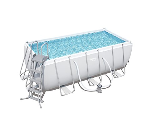 Bestway Frame Pool Power Steel Set, hellgrau, 412 x 201 x 122 cm