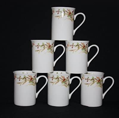 Set Of 6 Summer Harvest Style Fine Bone China Mugs Cups Gift Set