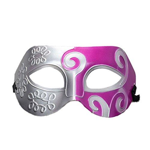 YAZILIND Mode Jazz-Stil Carving Blume Halloween Party Kostüm Masquerade Halbe Gesichtsmaske (Silber + Rose rot) (Jazz Halloween Kostüme)