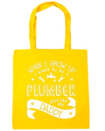 hippowarehouse-when-i-grow-up-i-want-to-be-a-plumber-like-my-daddy-tote-shopping-gym-beach-bag-42cm-