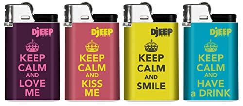 Djeep Feuerzeug Keep Calm Serie, 4 Stück
