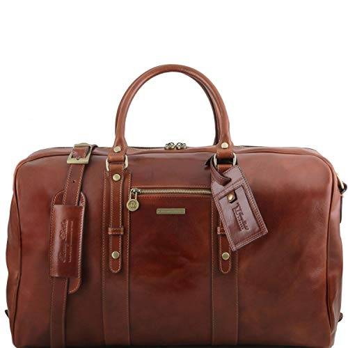 Tuscany Leather TL Voyager Sac de Voyage en Cuir avec Poche Frontale Marron