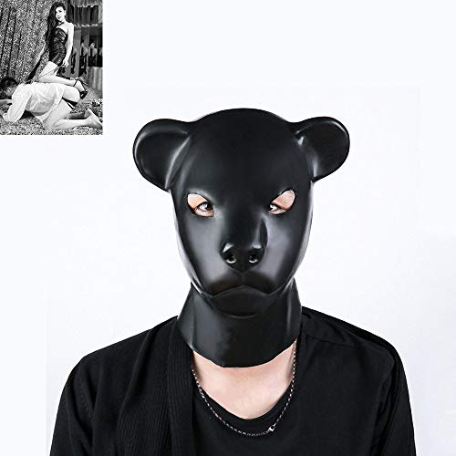 Tier Fetisch Kostüm - SM Naturlatex Bär Maske Tier Kostüm Maske, Paar Bondage Sexspielzeug für Cosplay/Folter/Fetisch/fesseln/Sklave/BDSM
