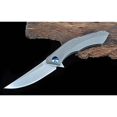 Ultima Blue Moon faltende fogli–Coltello fogli D2TC4titanio impugnatura Cuscinetto A Sfera Flipper Tactical