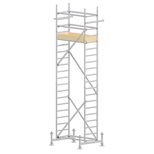ALTEC Rollfix 600-S, Arbeitshöhe 6 m neu, inkl. höhenverstellbarer Fußplatten, Made in Germany, Alu Gerüst Aluminium Rollgerüst Fahrgerüst Baugerüst Zimmergerüst Arbeitsplattform Arbeitsbühne
