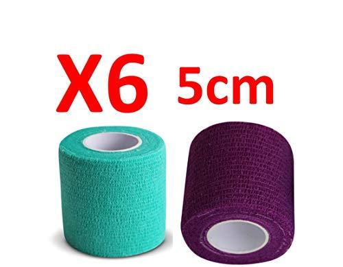 PintoMed - Dehnbare Kohäsive Bandage Fixierband - 3 Grün + 3 Lila - 5cm x 4,5m - Insesamt 6 Stuck, 5cm breit, 4,5m Dehnbare, elastische kohasive selbsthaftende Sport fixierbinde