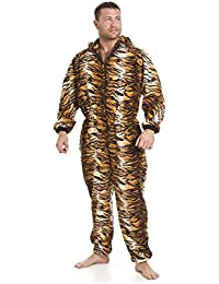 ab38d7252a0b Camille Mens Luxury Gold And Brown Tiger Print Soft Fleece Hooded Onesie