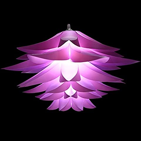 Seakin Puzzle Lotus Lampshade DIY Lamp Shades Kit Lotus Light Chandelier IQ PP Lampshade Pendant Hanging Suspension Lampshade for Ceiling Lights Bedroon Living Room DIA: 53CM (Violet)