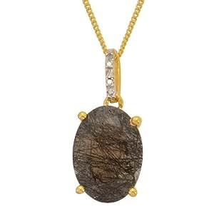 Black Rutile Quartz, Diamond 4.20CT Pendant With Chain In 14K Gold Plated Silver
