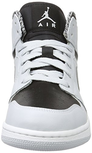 Nike Air Jordan 1 Mid Bg, Scarpe da Basket Bambino Multicolore (Pr Pltnm/White/Mtllc Slvr/Blk)