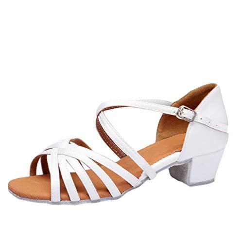 LaoZan Damen Mädchen Kleinkind Kinder Salsa Tanzschuhe Latein Tango Tanz Pumps Sandalen Party Schuhe (Weiß, Größe 33)