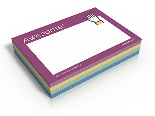 4x Awesome Notes - 200 Wertschätzungs-Haftnotizen Awesome - Great Job - Thank You - Very Happy - 70 g/qm - 100 x 72 mm - 4x50 Blatt - Lila - Blau - Grün - Gelb - Motive auch einzeln verfügbar