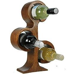 Namesakes 2 Bouteilles - Porte-vin - Porte-Bouteille - Sculpture Arbre de Vie - Ornement pour la Maison - Cuisine - Rangement pour Le vin - Sculpté à la Main en Bois - Idée de Cadeau Unique