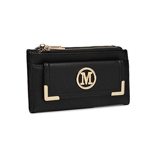 Miss Lulu Geldbörse Kleine Tasche Geldbeutel M Logo Damen Mini Clutches Pu Leder Kartenhülle Portemonnaie für Damen & Mädchen (Schwarz)